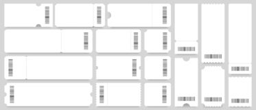 Free Ticket Or Coupon Template. Empty White Tickets Mockup, Vintage Coupons With Barcode Vector Set Royalty Free Stock Photos - 164125788