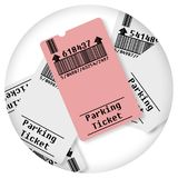 Ticket for parking area - Round icon concept image - Photography in a circle - Bar code and code numbers are completely made up.  stock photos