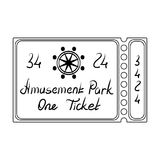 Ticket for passage to the territory of the amusement park.Amusement park single icon in outline style vector symbol. Stock web illustration Royalty Free Stock Photos