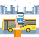 Ticket for public transport concept. Passenger`s hand with a phone in front of a bus on the background of the city. Flat  illustration Royalty Free Stock Image