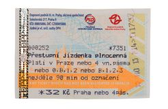 Ticket for public transport in Prague for 90 minutes, costing 32. Kroons. Isolate on white background Stock Images