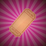 Ticket on Retro Pink Background Stock Photography