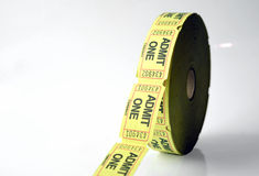 Ticket Roll. A ticket roll for movies and raffels stock photos