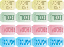 Ticket row. Four illustrations of a strips of tickets in different colours Royalty Free Stock Images