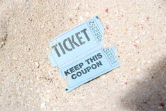 Ticket in the sand Stock Image