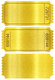 Ticket set. Golden ticket stubs isolated on white. Ticket set. Golden ticket stubs set isolated on white with clipping path included Royalty Free Stock Images