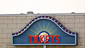 Ticket Sign. Blue, Red and Yellow Ticket Sign Royalty Free Stock Image