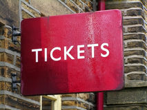 Ticket sign. A Tickets sign at a railway station Stock Photo