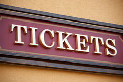 Ticket sign. A sign for tickets at a ticket booth Royalty Free Stock Photography