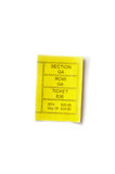 Ticket stub. Yellow ticket stub isolated on white background Royalty Free Stock Photo