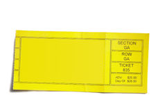Ticket stub. Yellow event ticket stub isolated on white background Royalty Free Stock Photos