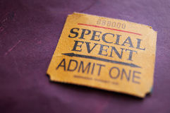 Ticket stub. For Special Event, shallow DOF Royalty Free Stock Photo