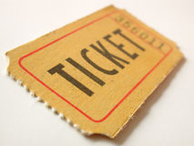 Ticket stub. With shallow depth of field Royalty Free Stock Photo