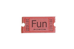Ticket stub. Single ticket with fun text, on white Royalty Free Stock Photography
