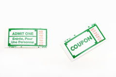 Ticket Stub. A couple of green ticket stubs on white background Royalty Free Stock Images