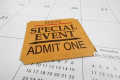 Ticket stub. Closeup of a Special Event ticket stub on a calendar Stock Photography