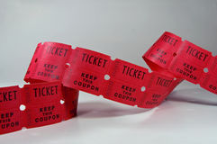Ticket Stubs. Photo of unraveled ticket stubs stock photos