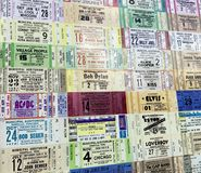 Ticket stubs from various artists royalty free stock image