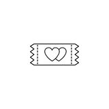 Ticket for sweethearts line icon Royalty Free Stock Photography