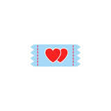 Ticket for sweethearts solid icon Stock Photography