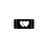 Ticket for sweethearts solid icon Royalty Free Stock Photos