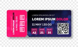 Ticket template modern trendy design. Vector admit ticket with event date and raw seat for cinema movie, live music concert or fes. Tival and football soccer and royalty free illustration