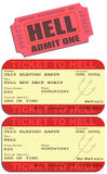 Ticket to hell. Editable vector illustrations of tickets to Hell stock illustration