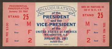 Ticket to John F. Kennedy Inauguration. Original ticket to the Inauguration of John F. Kennedy as President of the United States Stock Photos