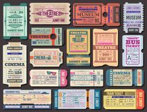 Ticket to movies, theatre or museum, boarding pass. Cinema, museum and theatre tickets and boarding pass vector. Film show 3d seance, stage performance and vector illustration