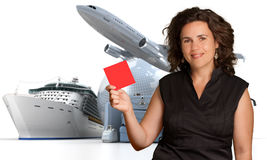 Ticket to the world. Smiling woman holding a blank red sign with an international travelling background Stock Image