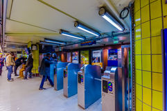 Ticket validation machine in a parisian subway Royalty Free Stock Images