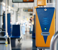 Ticket validator in a tram close-up. Royalty Free Stock Image
