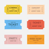 Ticket vector icons. Isolated from the background in flat style. Ticket stubs to events such as movie, concert and party. Simple vintage paper tickets for any royalty free illustration