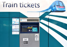 Ticket vending machine. Automatic ticket machine for MTR airport express on April 18, 2014 in Hong Kong, China royalty free stock photo