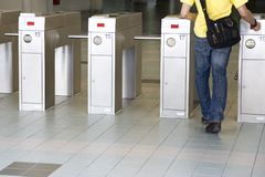 Ticket Verification Machine. Image of automatic train ticket verification machines Royalty Free Stock Photos