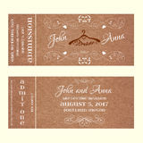Ticket Wedding Invitation with hangers for bride Royalty Free Stock Photography