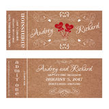 Ticket for Wedding Invitation with hearts MR and MRS on a stick Stock Image