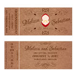 Ticket for Wedding Invitation with wedding golden ring in a red box Royalty Free Stock Photos