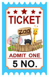 Ticket zoo vector Royalty Free Stock Image