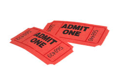 Tickets. Two red tickets on white background royalty free stock photo