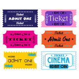 Tickets. Six colorful tickets for cinema or other kind of entertainment shows Stock Photography