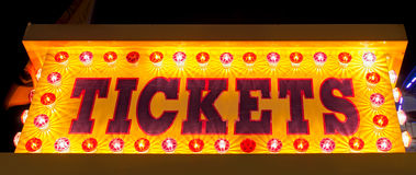 Tickets. Amusement park ticket booth sign at night Stock Images