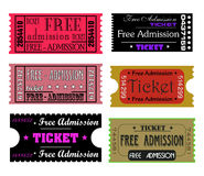 Tickets. Set of six colorful tickets isolated on a white background Royalty Free Stock Image