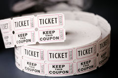 Tickets. Roll of admission tickets photographed at an outdoor event Royalty Free Stock Photo