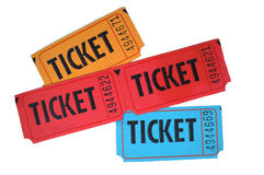 Tickets. Close-up of general admission tickets isolated in white background Stock Photos