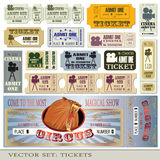 Tickets admit one. Vector set: tickets admit one in different styles Stock Images