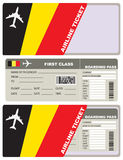 Tickets for air travel Belgian. Tickets for air travel. Set ticket with envelope Belgian flag Stock Photo