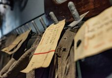 Close-up of old British Railways postal sorting tickets seen on post sacks. royalty free stock photo