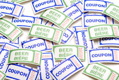 Tickets (Beer and Coupon). This image shows a collage of beer and coupon tickets Stock Photos