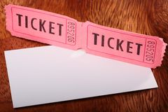 Tickets and card Royalty Free Stock Photography